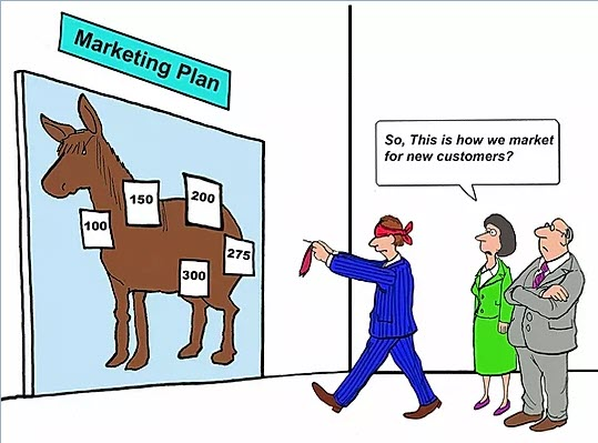 Cartoon of Man pinning the tail on a Donkey for Marketing Leads